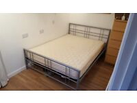 Metal frame double bed - can be sold with or without mattress £25 ONO