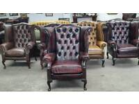 Stunning oxblood leather chesterfield wingback chair UK delivery CHESTERFIELD LOUNGE