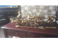 Joblot of brass horse's