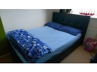 Harveys Black Leather Double Bed with Storage- Excellent Condition