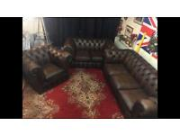 Chesterfield 3Piece Genuine Leather Suite / Settee (LIKE NEW!🔥⏳🔥! FREE LOCAL DELIVERY!
