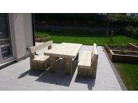 Garden table and benches railway sleeper table and bench brand new sleepers Loughview Joinery