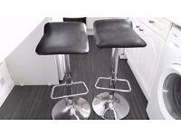 Two black/Chrome kitchen bar stools