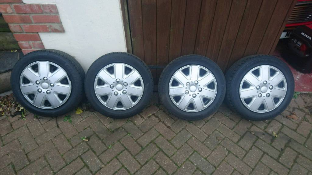 """Ford Fiesta 16"""" 4x Steel Rims + nuts with Good Tyres"""