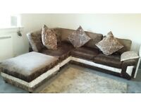 Brown and mink corner sofa for sale
