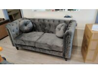 🔵💖🔴TOP SELLING PRODUCT🔵💖🔴FABRIC PLUSH VELVET FLORENCE 3+2 GREY COLOR SOFA SET