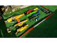 Nerf gun, toy gun and light saber collection