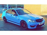 2012 MERCEDES-BENZ C63 6.3 AMG EDITION 125 7G-TRONIC BABY BLUE LOW MILEAGE RED LEATHERS SAT NAV