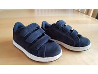 Next Navy Blue Suede Leather Boys Velcro Trainers UK Size 11
