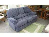 Three Piece Suite in blue fabric, three seater Sofa, two seater sofa, swivel recliner chair