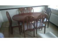 Mahogany colour table +6 chairs