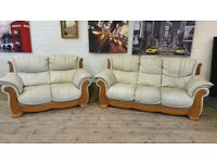 PENDRAGON REAL LEATHER 3 & 2 SOFA SET NICE CONDITION SMART VERY COMFY + DELIVER