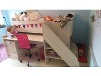 SOLID, TOP QUALITY HIGH SLEEPER with DESK & STORAGE inc matching CHEST of DRAWERS