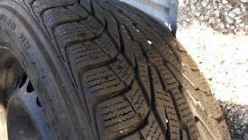 4 x 205/55/16 inch Winter Tyres on Mercedes Steel Wheels