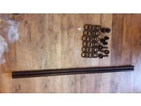 Wooden Curtain Pole, Dark Brown, 3m long, full kit, everything included, new, never used