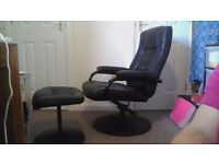 Reclining/swivel chair with footstool