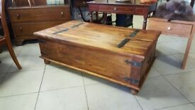 Beautiful Timeless Rustic Solid Oak Coffee Table Chest With Wrought Iron Hinges