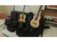 2 semi electric and 1 classicalguitars with 3 ampss and cases