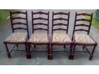 Set of four vintage ladder back dining chairs
