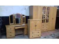 Lovely 3 piece oak effect bedroom furniture set
