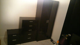 Wardrobe. Chest of 5 draws and bedside cabinet