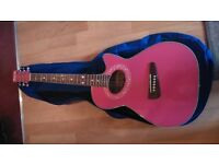 candy pink acoustic guitar