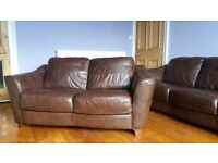Brown Leather 2 piece suite comprising of 1 x 2 seater and 1 x 3 seater sofas