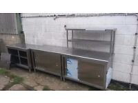 3 x Stainless Steel Commercial Storage Units with Gantry Shelf