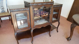 Antique solid wood glass fronted display case.