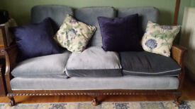 Antique Bergere 3 piece Sofa Suite. Art Deco, Rattan, Feather, Velvet