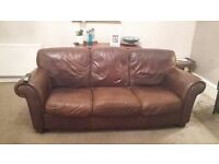 3 Piece Brown Leather suite for Sale