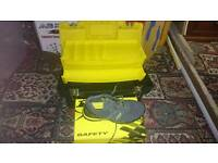 Size 8 steel toe trainers and Stanley tool box