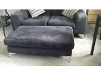 Black 2/3 setter sofa & large footstool