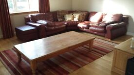 Large Leather Sofa and Foot Stool WITH Fire Certificate Label