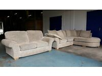 FABRIC CORNER SOFA & MATCHING 2 SEATER SOFA / SUITE / SETTEE WITH CUSHIONS DELIVERY AVAILABLE