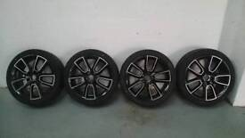 "GENUINE 18"" SKODA OCTAVIA VRS ALLOY WHEELS WITH BRAND NEW 225 40 R18 TYRES BLACK WITH POLISHED FACE"