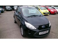 2009 NEW SHAPE FORD KA 1.3 STYLE IN BLACK WITH AUG 2017 MOT 62K NEW SERVICE CD E/WINDOWS + MIRRORS +
