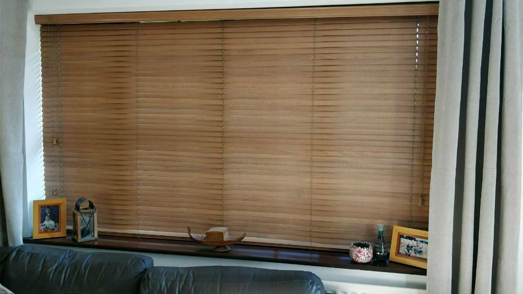 Oak colour wooden blinds x 2