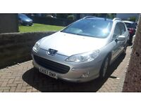 Peugeot 407 Estate, Silver, 5 door, leather interior, sat nav, heated seats, reversing sensors.