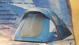 BRAND NEW UNUSED REGATTA 4 MAN PREMIUM TENT & CARP TUNNEL CAMPING