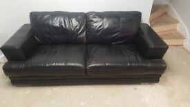 Dfs 3 seat black leather sofa & armchair