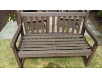 GARDEN BENCH , SOLID TEAK NO WOBBLES AND IN GREAT CODITION