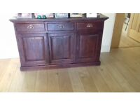 RAFT Furniture: teak dining table, 6 leather chairs, matching sideboard