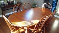 Dining Table Set with 6 Chairs - Canadel Solid Wood