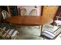 G Plan oval extending dining table and six chairs