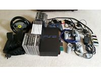 Playstation 2 with controllers~steering wheel+games