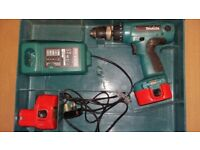 Makita 14V cordless drill driver with charger and 2 batteries in tool box