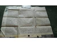 Antique deeds paperwork 1700