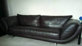 Lovely modern leather three seater