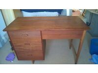 1950's Teak Sewing Cabinet with Electric Singer Sewing Machine